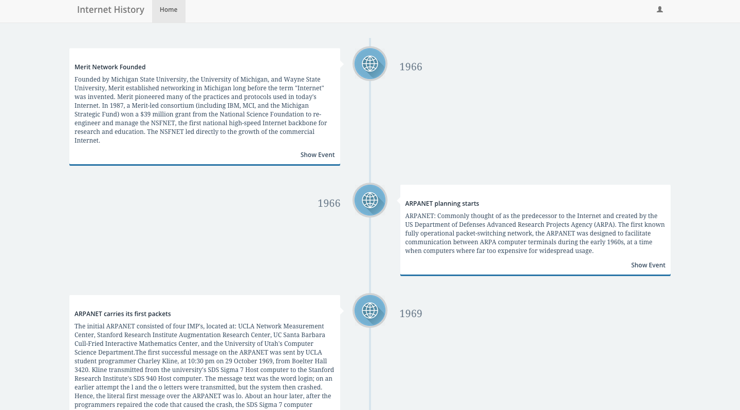 View history of the internet project portfolio page